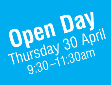 Open Day – Thursday 30 April 9.30 to 11.30am